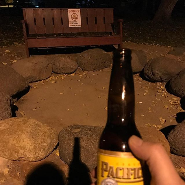 "Enjoying a nice cold Pacifico in Sedona, AZ staring at the empty ""Reflection pit"", since there are now fires allowed :/    # Sedona"