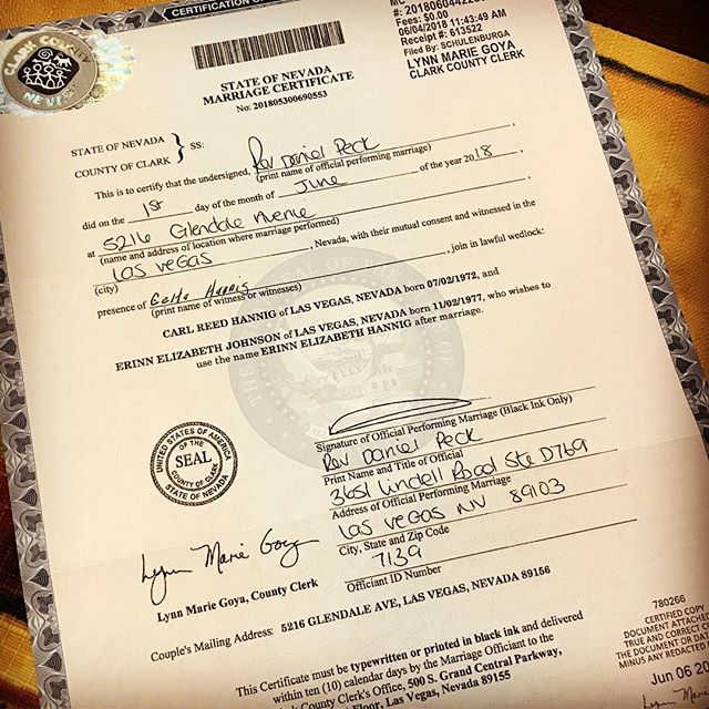 Well it's really official now. We got our marriage certificate in the mail.